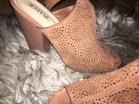 pair of brown JustFab suede perforated open toe chunky heel slingback sandals Coquitlam, V3K 6Y8