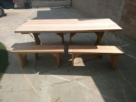 Custom made picnic tables with folding legs