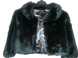 black and gray fur jacket size M