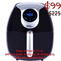 Power Air Fryer XL 5.3-qt  with inner basket, baking pan, oil-misting spray bottle and recipe book New! Mission, 78572
