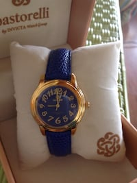 round gold-colored analog watch with blue leather strap Valparaiso, 46383