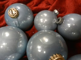 Vintage home decor holiday Christmas tree ornaments Cadet blue glass balls. West Germnay