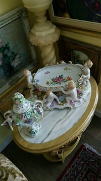 white and pink floral ceramic tea set Montréal, H3R 2E6