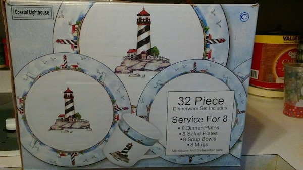 Used Coastal Lighthouse 32 Piece Dinnerware For Sale In Shippensburg