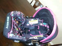 baby's black and pink floral stroller