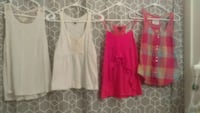 four pairs of white, pink, and red sleeveless tops Piqua, 45356