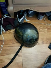 motorcycle helmet with airbrushed skull on it dont ride and need cash