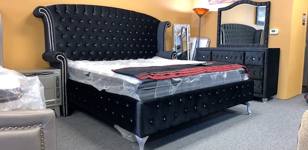 0 Down No Credit Check Black Tufted Bed Frame Headboard Footboard Rails Available King Queen Full Size