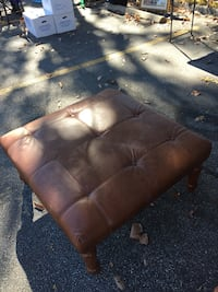 Brown leather tufted sqaure ottoman Washington, 20224