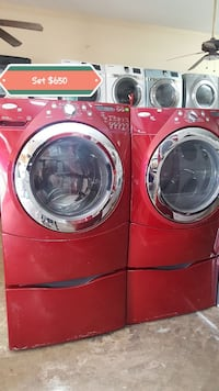 red front-load clothes washer and dryer set Marietta, 30060