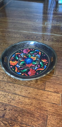 Black and floral wood handmade bowl
