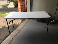 rectangular white wooden table with black metal base Herndon, 20171