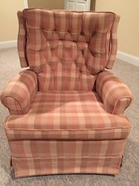 brown and beige plaid fabric sofa chair Trent Woods, 28562