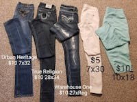 blue, black , white and teal jeans 3483 km