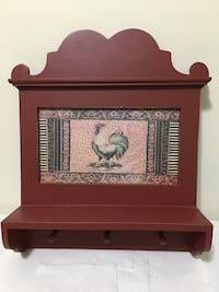 Farmhouse rooster wall decor with shelf