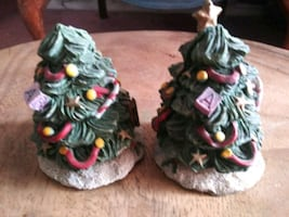 2 Ceramic Christmas Trees with Surprise Santa