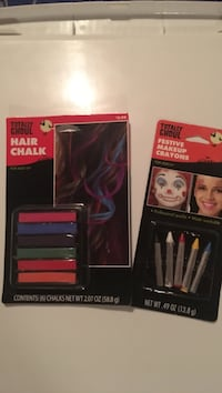 New pack of hair coloring chalk and package of makeup crayons. Freehold township, 07728