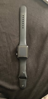 Silver aluminum case apple watch with black sport band Milwaukee, 53211
