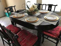 Asian dining room table that extends large 751 mi