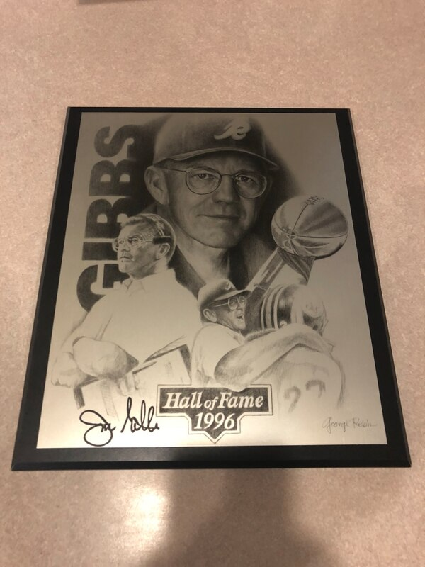 Joe Gibbs signed plaque