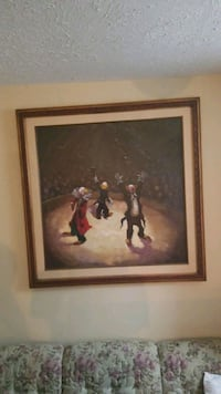 brown wooden framed painting of man Lincoln, 68502