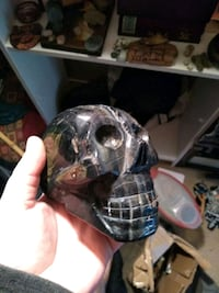 Giant 4lb Blue Tigers Eye crystal skull 15 mi