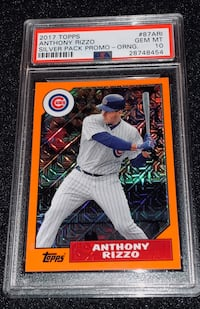 2017 Topps Silver Pack Anthony Rizzo Orange Promo PSA 10 Pop 1 Chicago, 60611