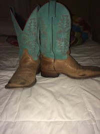 teal-and-brown leather cowboy boots Mount Summit, 47362