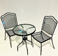 1 Black Metal and Glass Patio Table Only for $60. Chairs sold separately for $ 100 per set ORLANDO