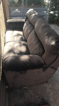 Brown fabric recliner couch fully functional