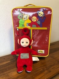 """(IRVING, TX) Vintage PBS Teletubbies Rolling Child's Red Sparkly Suitcase with Handle + Teletubbies Po 14"""" Talking Plush Irving, 75063"""