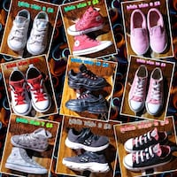 Nine new kid's designer sneakers or sizes size on each
