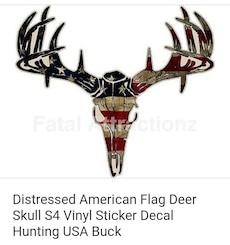 Distressed American Flag Deer Skull S4 Vinyl Sticker Decal Hunting USA Buck