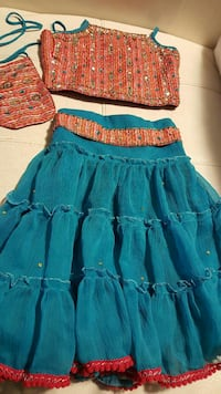 blue and orange spaghetti strap top and skirt