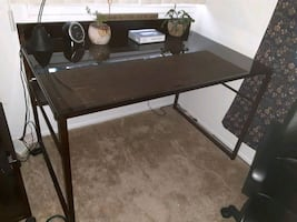 Office desk + 6 shelf/ and filing cabinet & office chair.