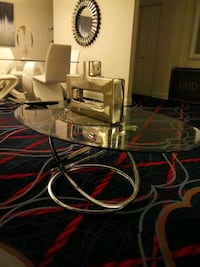 glass coffee table with glass two end tables with two lamps Lincolnia, 22312