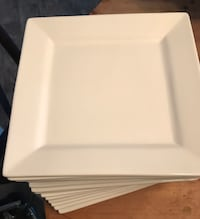 "16-Piece White Square Palm 10"" Dinner Plates, Catering Set"