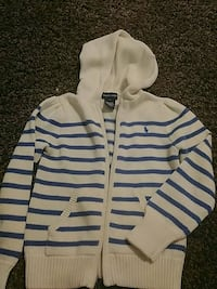 White and blue boy's sweater. Size 6 Calgary, T2Y 2Y1
