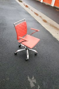 DESIGNER RED LEATHER ADJUSTABLE OFFICE CHAIR