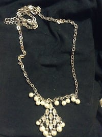 Ladies 30 inch silver tone necklace with pearl & crystals  Hudson, 28638