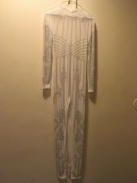 women's white and gray long-sleeved jumpsuit 42 mi