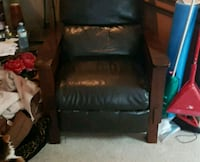 black leather padded brown wooden armchair Edmonton, T5L 4S8