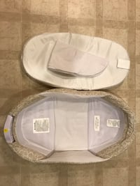 gray and white bassinet