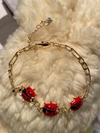 "14k Gold Plated Lady Bug Bracelet 7"" Nashville"