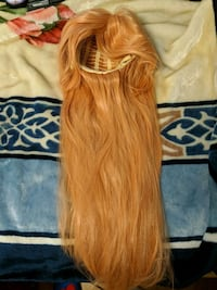 Golden long synthetic wig