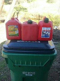 3  two gallon plastic fuel containers. Shasta Lake, 96019