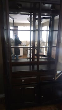 brown wooden framed glass display cabinet Mississauga, L5R 2M5