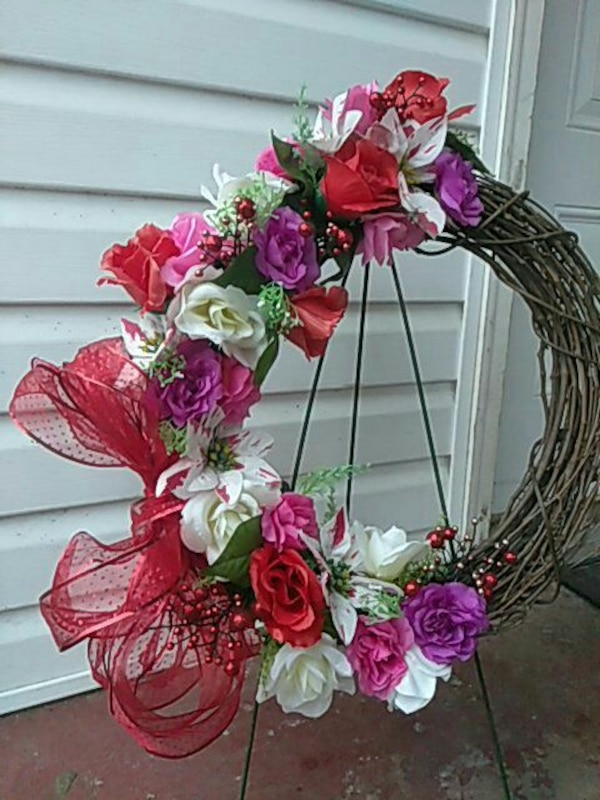 grapevine wreath with assorted-color flower-accent