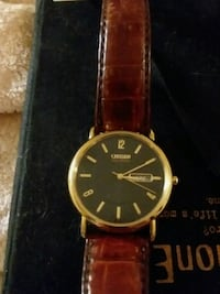 round gold analog watch with brown leather strap Rohnert Park, 94928