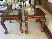 two brown wooden framed glass top tables Cranston, 02921